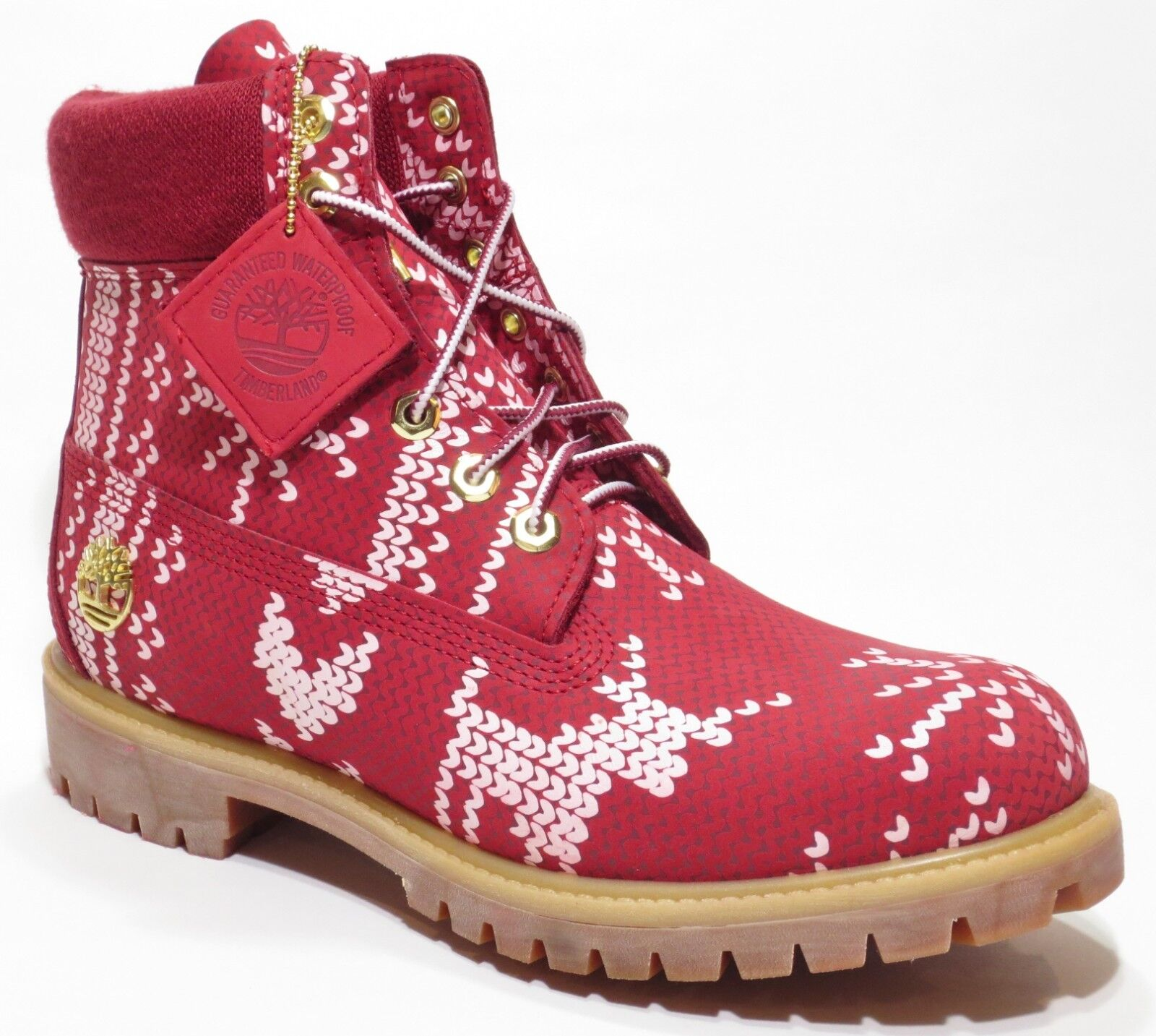 Timberland Men's Red Limited Holiday Edition Ugly Sweater Waterproof Boots A1U6K