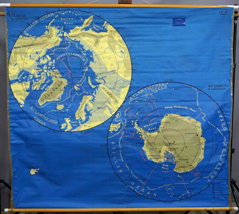 double-sided pull-down school poster map wall chart Artic Antartica Australia