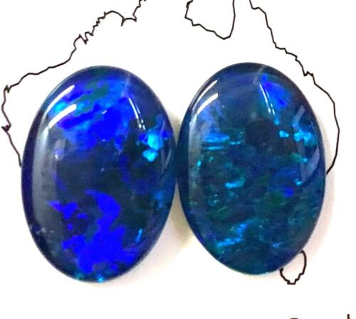 18x13mm Loose Stones Pair Of Natural Black Triplet Opal Stones For Earring F7