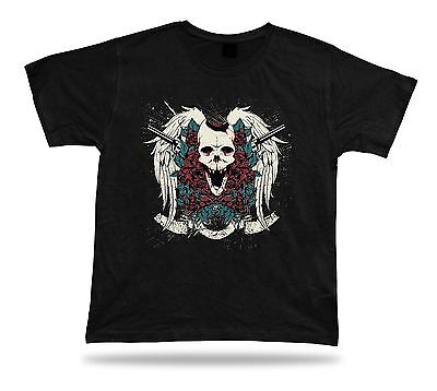 Tshirt Tee Shirt Birthday Gift Idea Skull and Guns Creepy Rose Emblam Classic