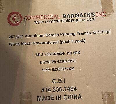 20 X 24 - 6 Pack - With 110 Mesh Aluminum Frame Silk Screen Printing Screens