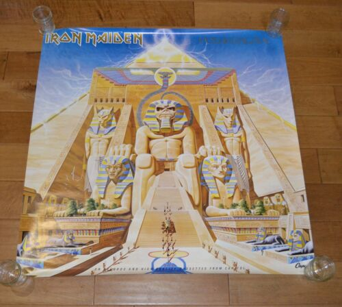 "Vintage 1984 Iron Maiden Powerslave Poster Capital Records Promo Unhung 36""X36"""