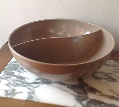 Boonton Melmac Dinnerware Taupe Large Divided Serving Bowl Dish Vintage Melamine