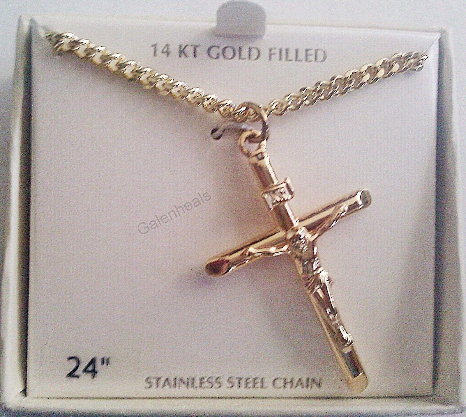 """14k Gold Crucifix Necklace: Men's 14K Gold Crucifix Cross Jesus Pendant 24"""" Necklace"""