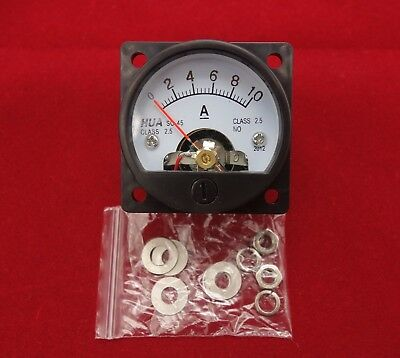 1pc Dc 0-10a Analog Ammeter Panel Amp Current Meter So45 Cutout 45mm