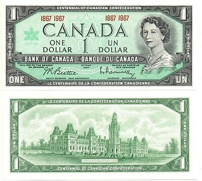 CANADA 1 Dollar (1967-100th Anniversary Note) P-84, AU *FREE Shipping to Canada*