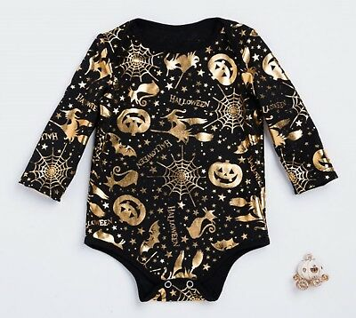Kid Girl Boy Baby Witch Gold Pumpkin Cat Party Halloween Costume Romper Outfits  (Baby Girl Witch Costumes)