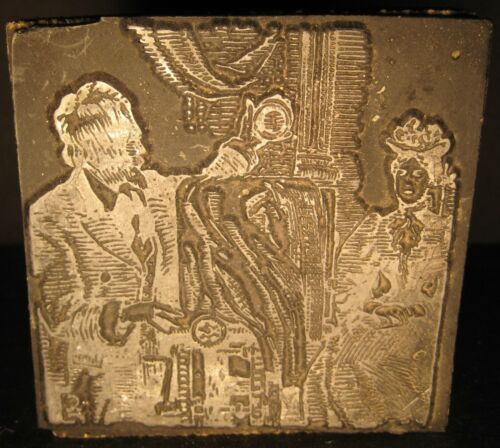 "Antique 2.7"" Printers Block Victorian Photographer Studio Camera Model Sitting"