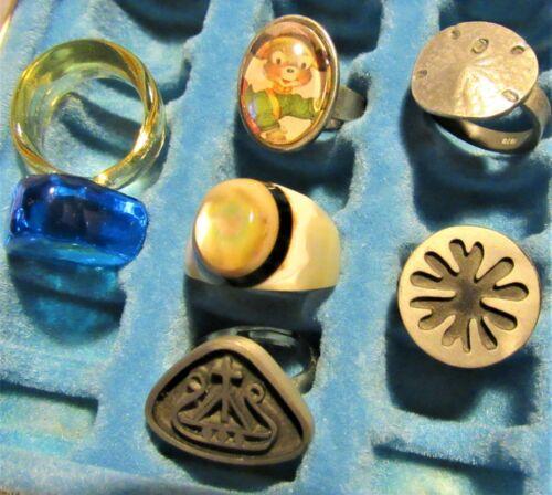 Lot of 6 Vintage Rings Glass MOP Pewter Scandinavian