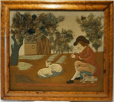 EARLY 19TH CENTURY FELT WORK PICTURE OF A SHEPHERD & HIS FLOCK - c.1830