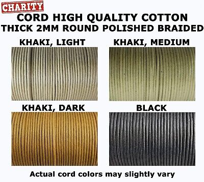 2mm Thick Waxed and Polished Braided Cotton Cord 100 meters = 328 ft. Spool ()