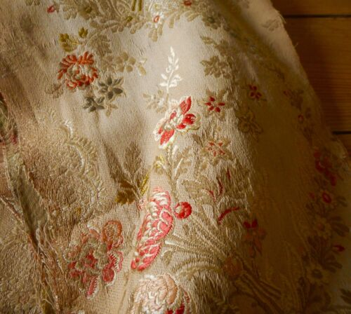 Antique 19thc French Floral Garland Silk Cotton Brocade Jacquard Fabric #3~ Aged