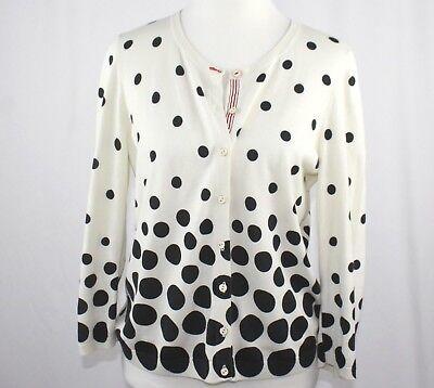 Talbots Oprah Magazine Collection Cardigan Sweater White Black Polka Dot Medium