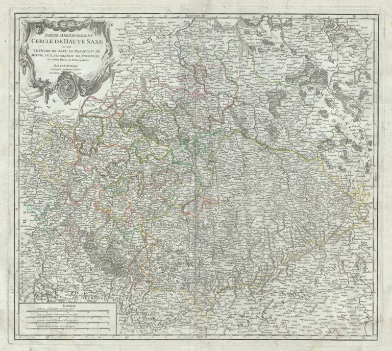 1756 Vaugondy Map of the Southern Portions of Upper Saxony, Germany