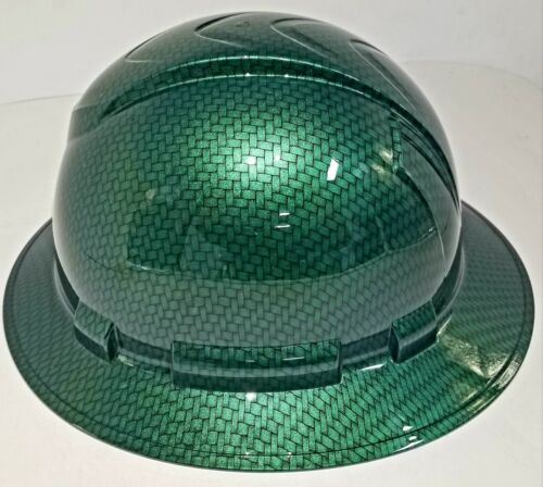 NEW FULL BRIM Hard Hat custom hydro dipped MONEY GREEN BIG WEAVE CARBON FIBER  3