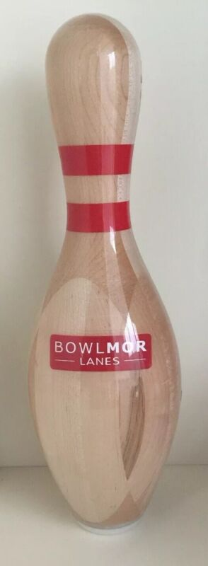 """Rare BOWLMOR LANES Anaheim CA Solid Wood Bowling Pin Regulation 15""""h Trophy NEW!"""