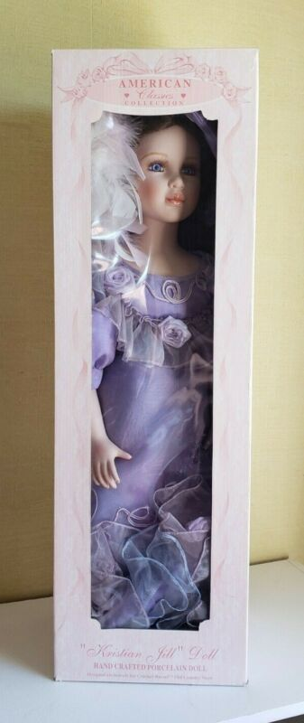 "American Classics Rare misprinted Victorian Porcelain Doll Kristian Jill NIB 24"""