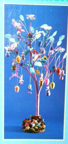 Easter Tree w/ 24 Colorful Wooden Ornaments Table Centerpiece Holiday Display