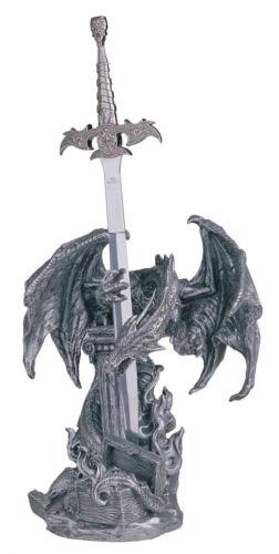 16 1/4 INCH SILVER DRAGON AND SWORD FIGURINE