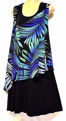 TS dress TAKING SHAPE plus sz S / 16 - 18 'Leaf Print Overlay' stretch chic NWT!