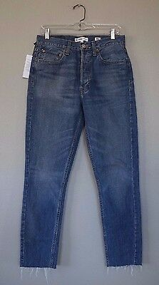 Levis Re / Done Dark Wash Denim Straight High Rise Raw Edge Hem Jeans 28