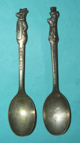 Vintage Yogi Bear & Huckleberry Hound Cartoon Spoon set Old Company Plate SILVER