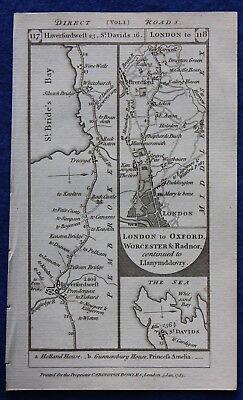 Original antique road map, PEMBROKE, MIDDLESEX, BUCKINGHAMSHIRE, Paterson, 1785