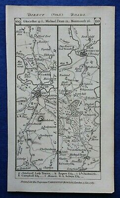 Original antique road map GLOUCESTER, MONMOUTH, BRECON, Paterson 1785