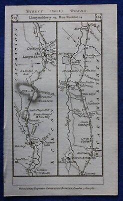 Original antique road map BRECON, CARMARTHEN, PEMBROKE, Paterson, 1785