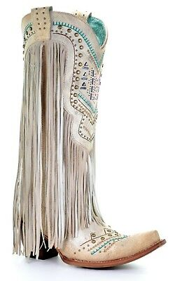 Corral Ladies Bone Multicolor Crystal and Fringe Snip Toe Boots C3424