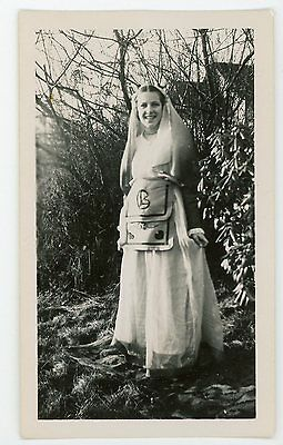 Woman is sorority or wicca costume dress  vintage  snapshot photo](Sorority Costume)