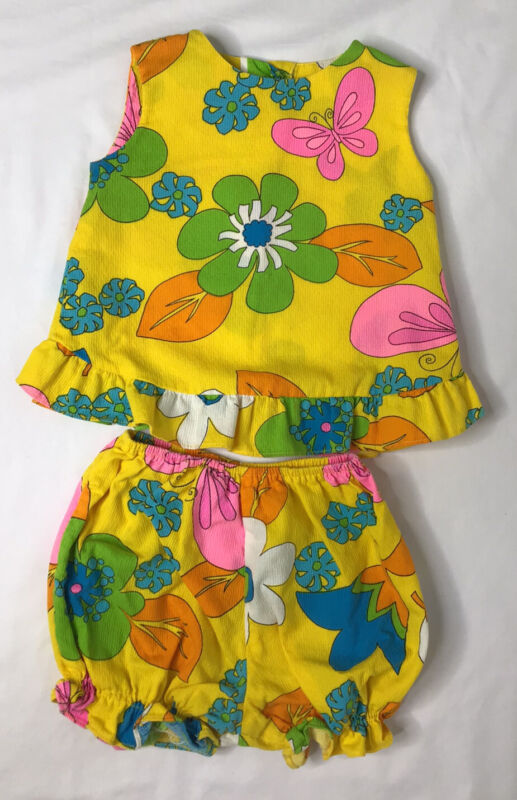 Vintage Young Hawaii Honolulu Baby 2 Pc Outfit- Top & Diaper Cover