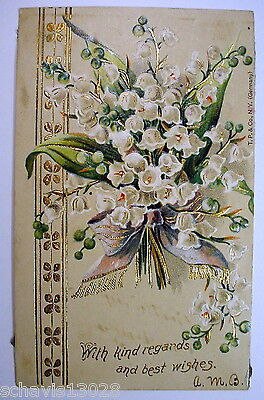 Snowbells With kind regards and Best Wishes Germany 1907 Vintage Postcard (Best Regards Kind Regards)