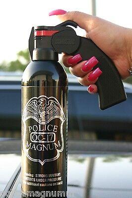 Police Magnum pepper spray 16 oz Pistol Grip Fogger Defense Security Protection