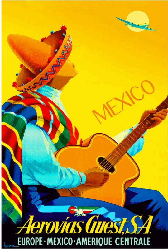 1948 Mexico by Clipper Mexican Spanish Vintage Travel Advertisement Art Poster