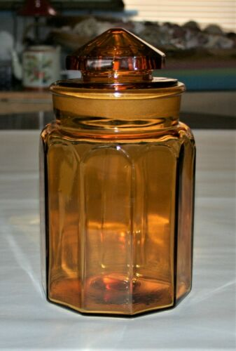 "Antique Dakota Amber Candy Apothecary Ground Glass Jar 10 Panels 9-1/2"" Tall"