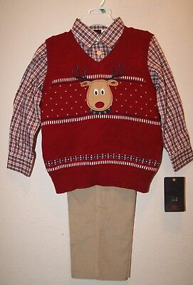 DOCKERS BOYS TODDLER 3 PCS CHRISTMAS OUTFIT SWEATER VET SET Sz Varies - NWT - Christmas Outfit Boys