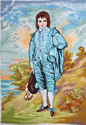Vintage Blue Boy Punch Embroidery Needlepoint Completed Finished Unframed