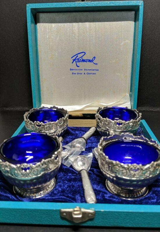 Vintage Raimond Silversmiths Open Salt Cellars & Spoons damaged box