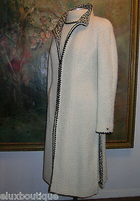CHANEL Tweed COAT Jacket Wool Blazer Ivory Black Skirt Vest Suit ENSEMBLE SET 42
