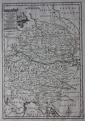 Original antique map SOUTH EAST GERMANY, BOHEMIA, CZECH REPUBLIC, E. Bowen, 1747