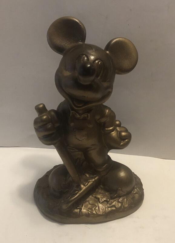 "1997 DISNEY MICKEY MOUSE Resin ""HIDE A KEY"" Garden Statue 10.5"" High Gold Color"