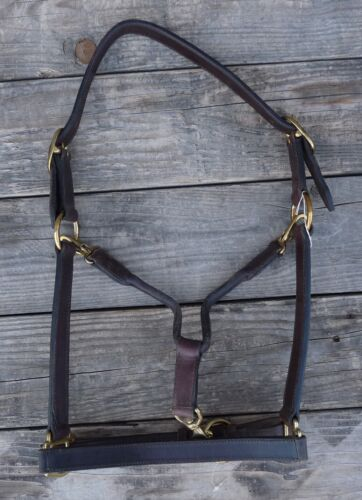 Stitched Leather Halter Brass Horse 19938