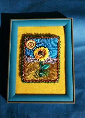 Sunflower Picture, Framed Handmade Multimedia Beaded Colorful Artwork