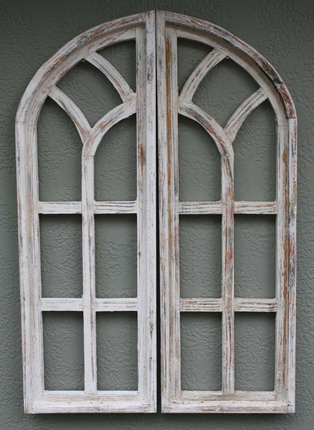 "2 Wooden Antique Style Church WINDOW Frame Shutters Wood Gothic 35 1/2"" Shabby"