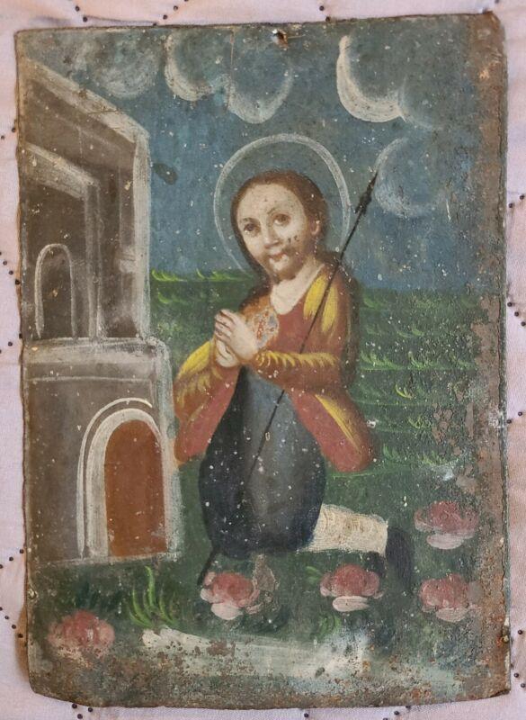 Antique Spanish Colonial Retablo Jesus Christ Painting Mexican Santo 19th c Folk
