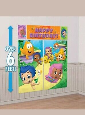 Bubble Guppies Decoration (BUBBLE GUPPIES Giant 5pc Scene Setter HAPPY BIRTHDAY Party Wall Decoration)