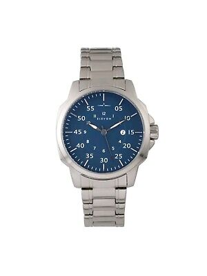 """ELEVON HUGHES STAINLESS STEEL DEPLOYMENT BRACELET BLUE FACE WITH DATE """"WOW"""" LOOK"""