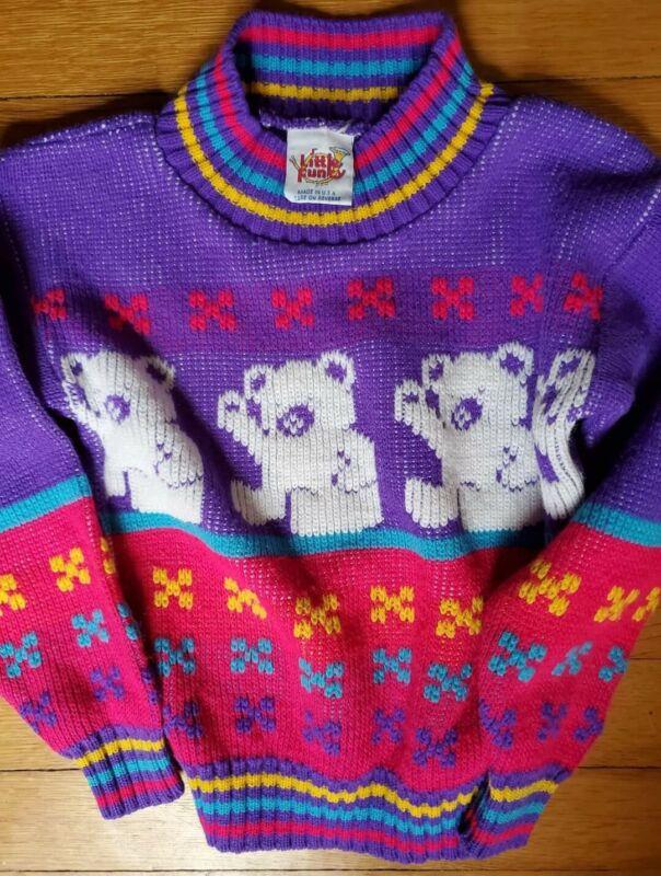 Vintage 90s Girl's Sweater Pink Purple Teddy Bear Stars Kawaii Fairy Kei 3T 4T