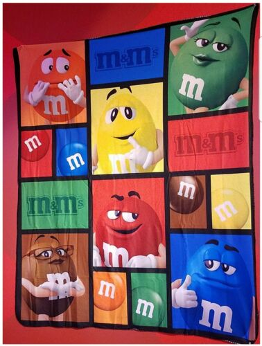 M&M Big Face Characters Blanket Throw w Blue Brown Green Red Orange & Yellow NEW